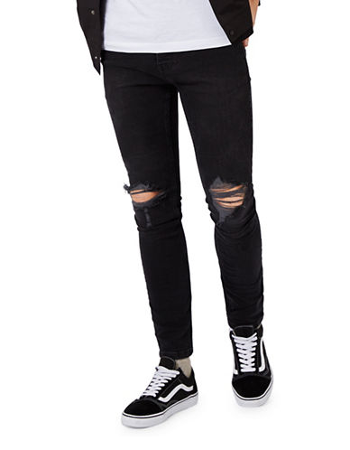Topman Washed Ripped Stretch Skinny Fit Jeans-BLACK-36
