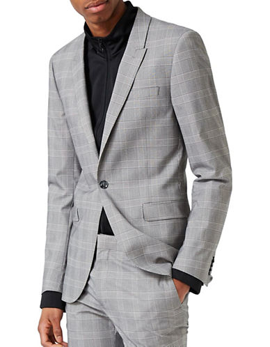 Topman Glen Plaid Ultra Skinny Fit Suit Jacket-BLACK-38