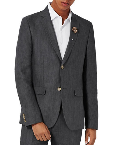 Topman Hakon Linen Skinny Fit Suit Jacket-BLACK-44