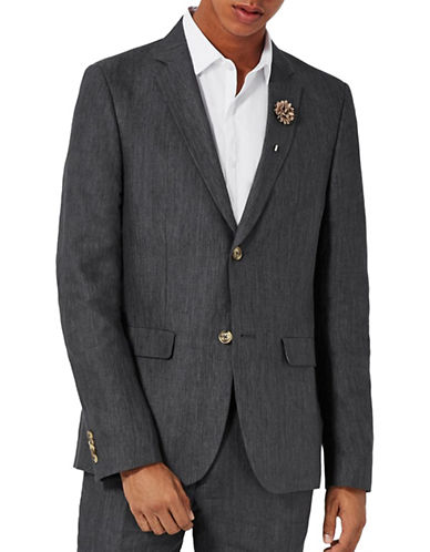 Topman Hakon Linen Skinny Fit Suit Jacket-CHARCOAL-28