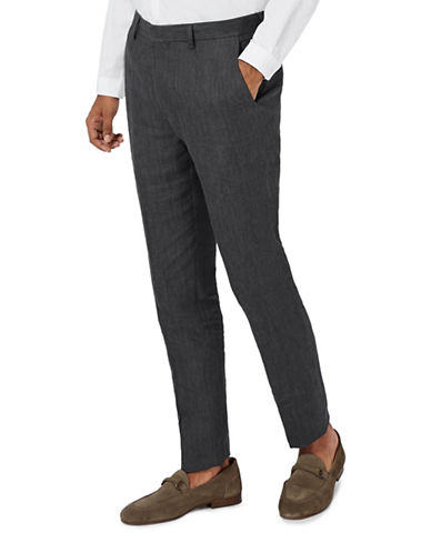 Topman Hakon Linen Skinny Fit Suit Trousers-BLACK-30