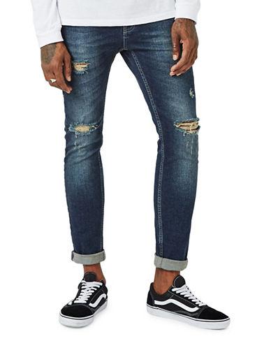 Topman Ripped Stretch Skinny Jeans-DARK STONE-36