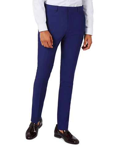 Topman Twill Ultra Skinny Fit Suit Trousers-BLUE-34 Long