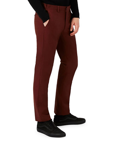 Topman Skinny Fit Dress Pants-BURGUNDY-32 Short