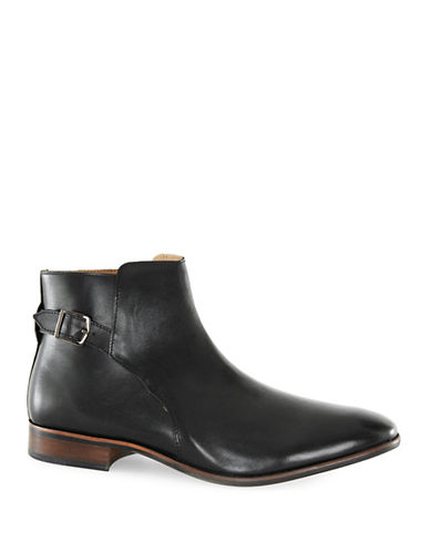 Topman Martial Leather Buckle Boots-BLACK-EU 43/US 10