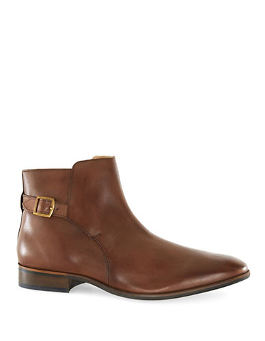 Topman Martial Leather Buckle Boots-BROWN-EU 41/US 8