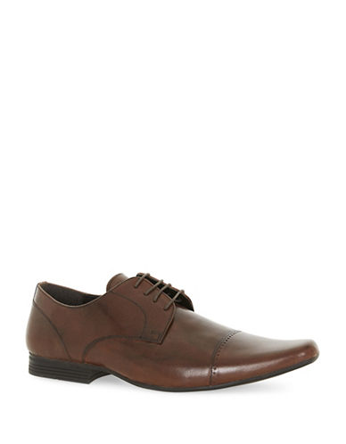 Topman Brody Leather Toecap Shoes-BROWN-EU 46/US 13