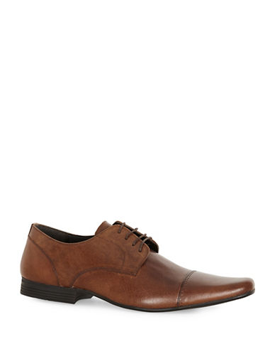Topman Brody Leather Toecap Shoes-BROWN-EU 45/US 12