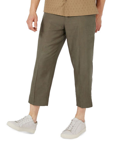 Topman Tencel Cropped Trousers-KHAKI/OLIVE-32 Short