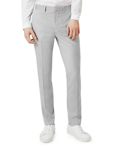 Topman Wyatt Crosshatch Skinny Fit Suit Trousers-LIGHT BLUE-32 Long