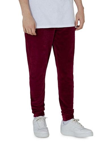 Topman Corduroy Velvet Pants-BURGUNDY-X-Small