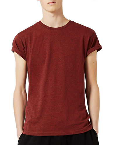 Topman Salt and Pepper Muscle Fit Roller T-Shirt-RED-X-Small 89086531_RED_X-Small