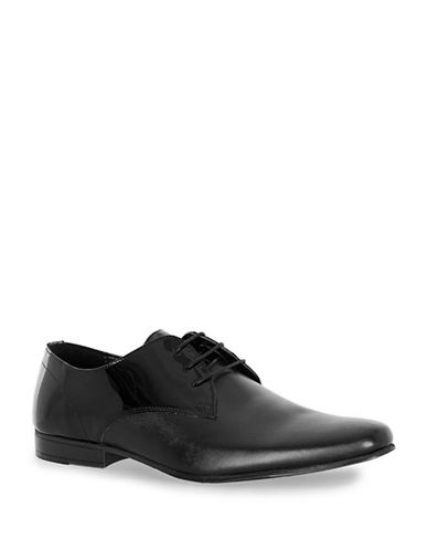Topman Dance Patent Derby Shoes-BLACK-43
