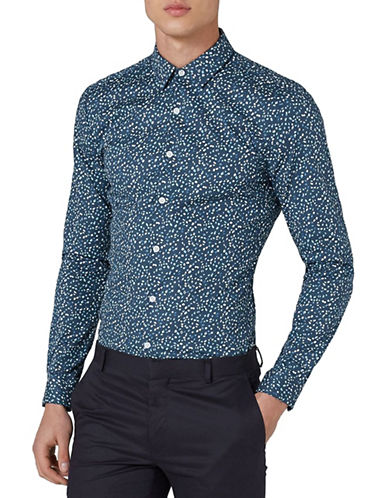 Topman Classic Fit Marble Sport Shirt-BLUE-Large