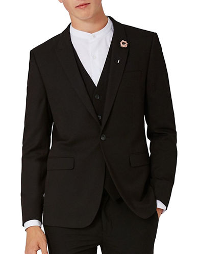 Topman Textured Ultra Skinny Suit Jacket-BLACK-34