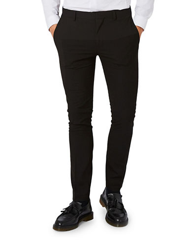 Topman Textured Ultra Skinny Suit Trousers-BLACK-34