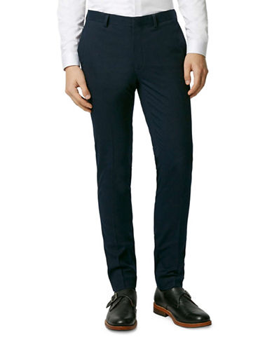 Topman Textured Ultra Skinny Fit Suit Trousers-DARK BLUE-32 Short