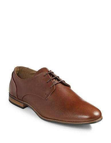 Topman Henry Leather Derby Shoes-BROWN-EU 44/US 11