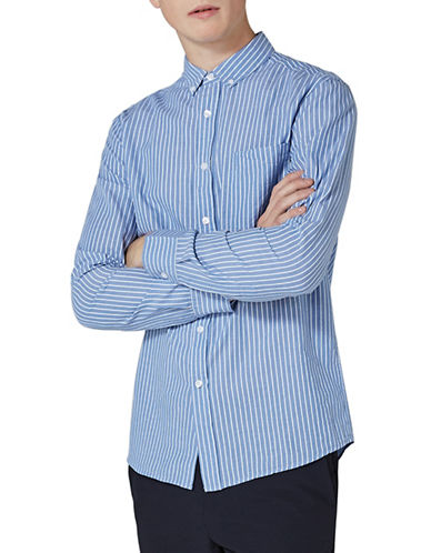 Topman Button-Down Stripe Shirt-BLUE-Medium