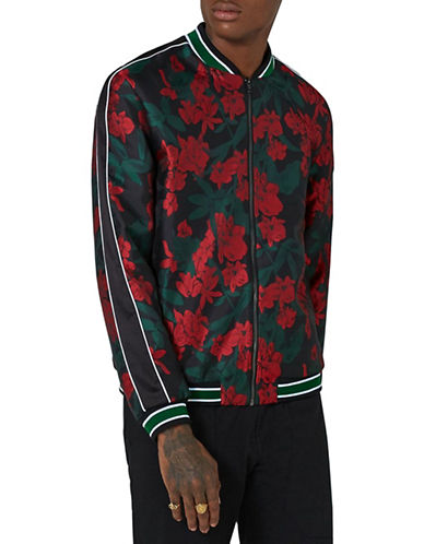 Topman Floral Smart Bomber Jacket-BLACK-X-Large