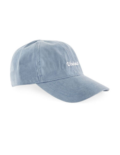 Topman Washed Curved Peak Cap-BLUE-One Size