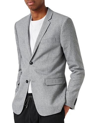 Topman Textured Skinny Fit Blazer-GREY-42