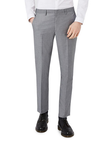 Topman Skinny Fit Suit Trousers-LIGHT GREY-34 Long