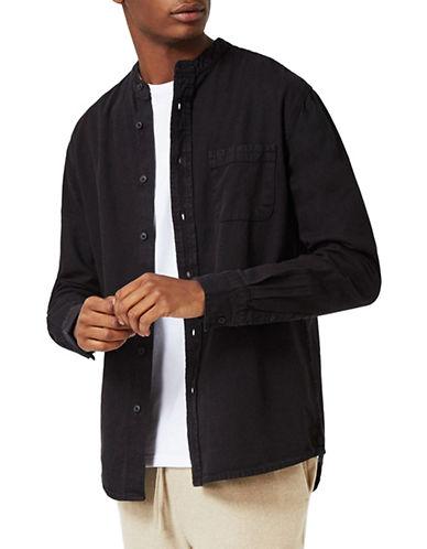 Topman Washed Twill Sport Shirt-BLACK-Medium 89149210_BLACK_Medium
