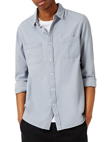 Topman Washed Twill Sport Shirt-BLUE-X-Small