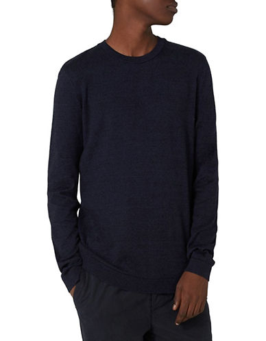 Topman Ribbed Crew Neck Cotton Sweater-DARK BLUE-Medium