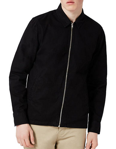Topman Zip-Up Overshirt-BLACK-X-Small
