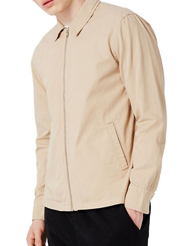 Topman Zip-Up Overshirt-STONE-Small