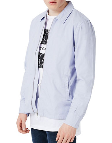 Topman Herringbone Zip-Up Overshirt-BLUE-Large