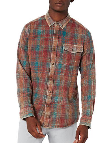 Topman Checked Relaxed Fit Shirt-MULTI-Medium