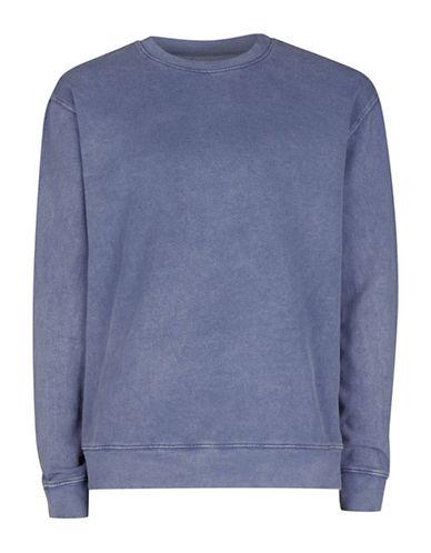 Topman Washed Denim Sweatshirt-BLUE-X-Large