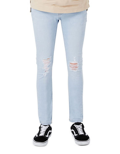 Topman Extreme Ripped Stretch Skinny Jeans-BLUE-30 Short