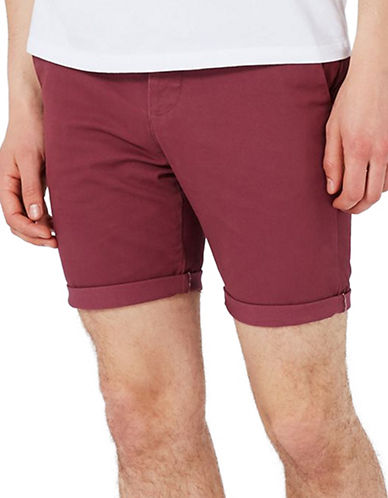 Topman Stretch Skinny Chino Shorts-BURGUNDY-36