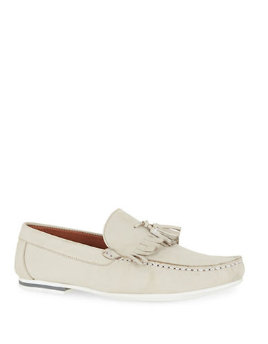 Topman Aspen Leather Fringed Loafers-OFF WHITE-46