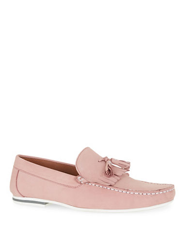 Topman Stone Leather Fringed Loafers-PINK-44