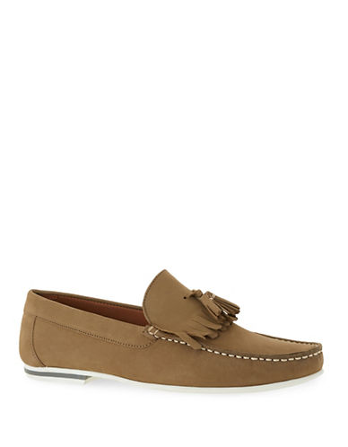 Topman Stone Leather Fringed Loafers-KHAKI/OLIVE-42