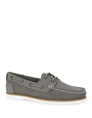 Topman Anchor Leather Boat Shoes-GREY-42