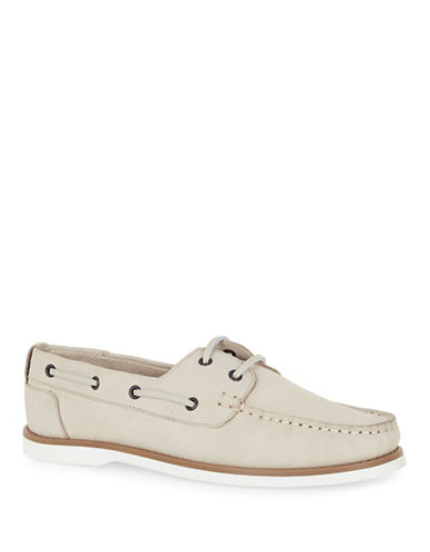 Topman Anchor Leather Boat Shoes-OFF WHITE-45