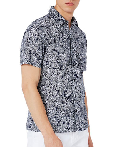 Topman Floral-Printed Sport Shirt-BLACK-Large