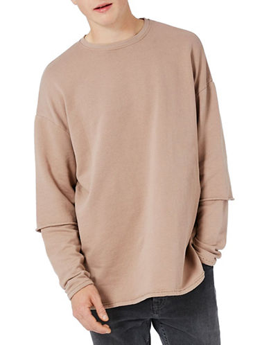 Topman Double Layer Sweatshirt-LIGHT BROWN-Large