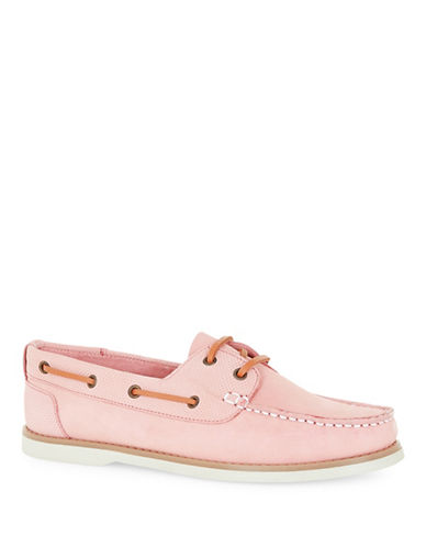 Topman Anchor Leather Boat Shoes-PINK-44
