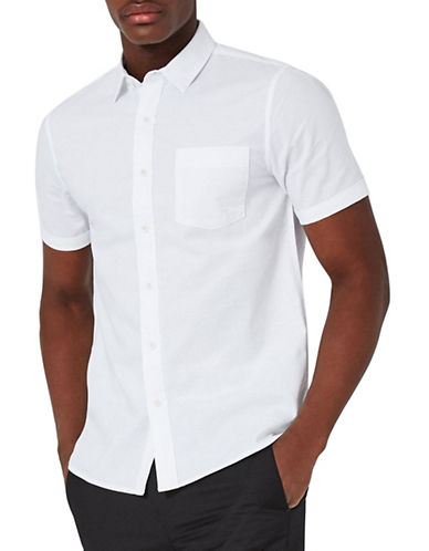 Topman Stretch Oxford Shirt-WHITE-Large