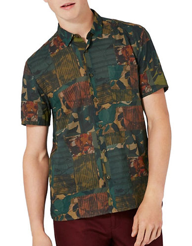 Topman Spliced Print Patchwork Shirt-MULTI-Large