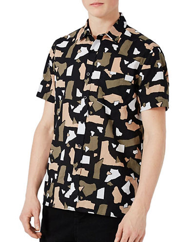 Topman Torn-Printed Sport Shirt-MULTI-Large