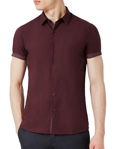 Topman Turn-Up Sport Shirt-BURGUNDY-Medium