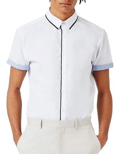 Topman Contrast Trim Sport Shirt-WHITE-X-Large